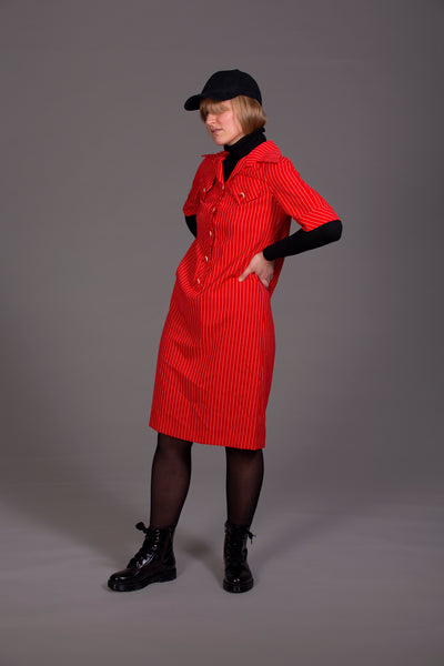 Pinstripe dress with sleeves