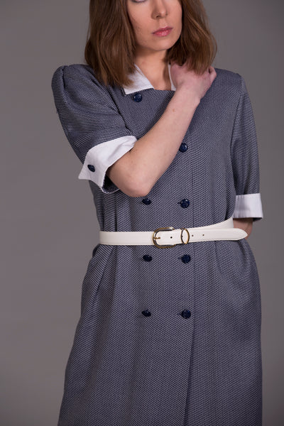 Buttoned navy dress
