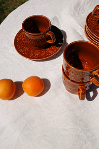 brown ceramic coffee set