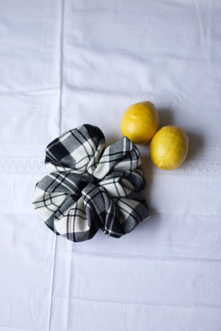 Wool Check Scrunchie