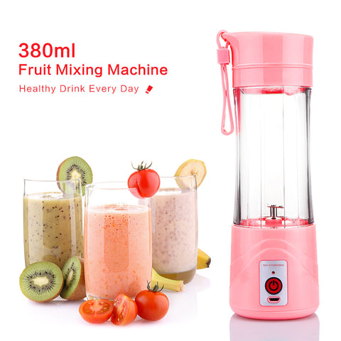 Mini USB Juicer Cup Personal Portable Eletric Rechargeable Juice Blender and Mixer 380ml Fruit Mixing Machine with USB Charger 2 Blades for Superb Mixing