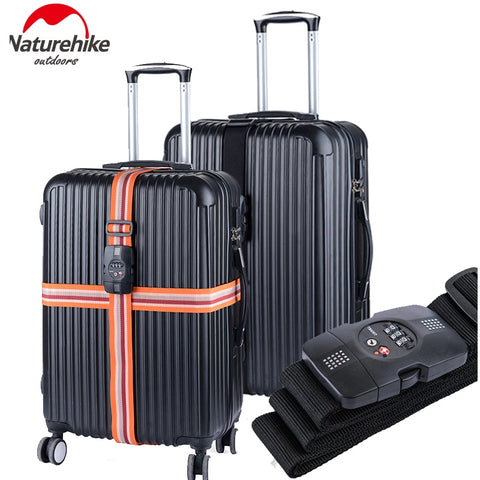 NatureHike NH23A023-C TSA Combination Lock Adjustable Double Cross Luggage Suitcase Strap Belt Travel Baggage Tie Down
