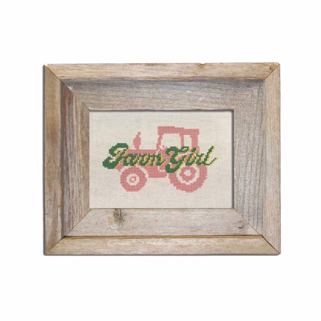 farm girl cross stitch