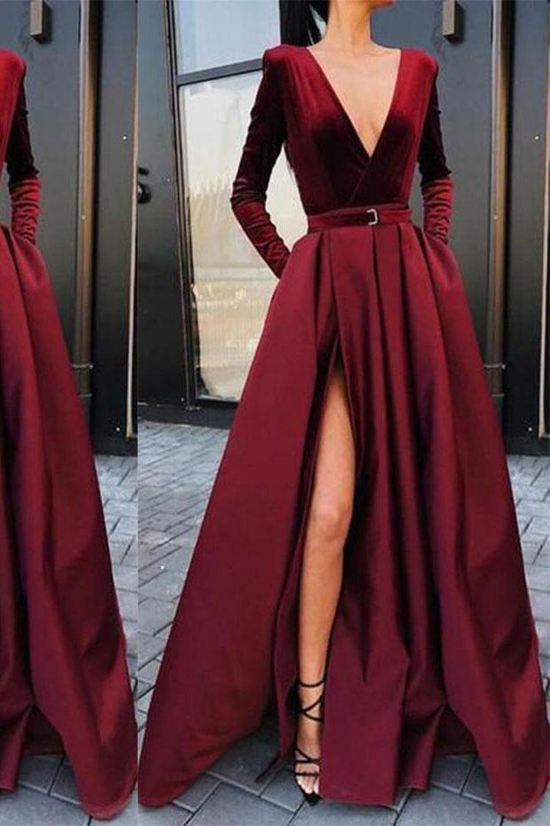 Fashion Sexy Deep V Collar Long Sleeves Fork Plain Evening Dress