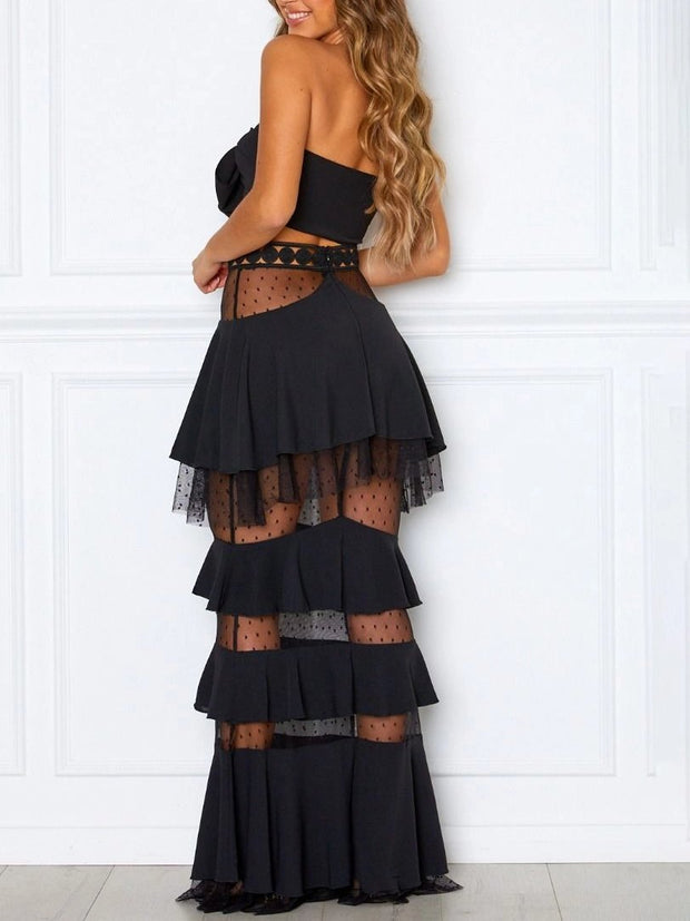 Cake Skirt Stitching Dress Two Piece Set