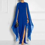 Cape Sleeve High Slit Plain Chiffon Evening Dress