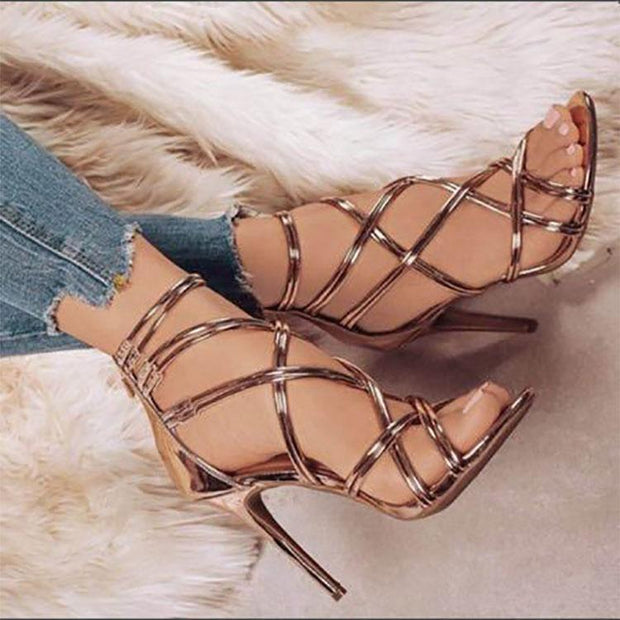 Sexy Pure Color Hollow Cross Strap Slim High Heels