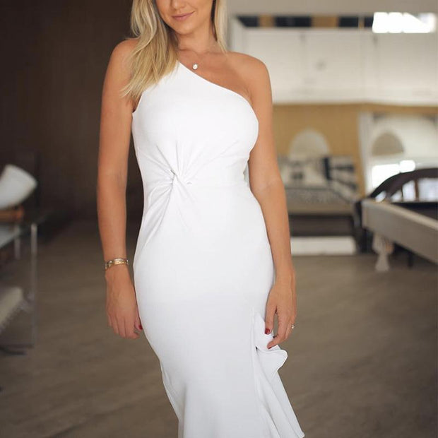 Sexy Elegant One Shoulder Bodycon Dress