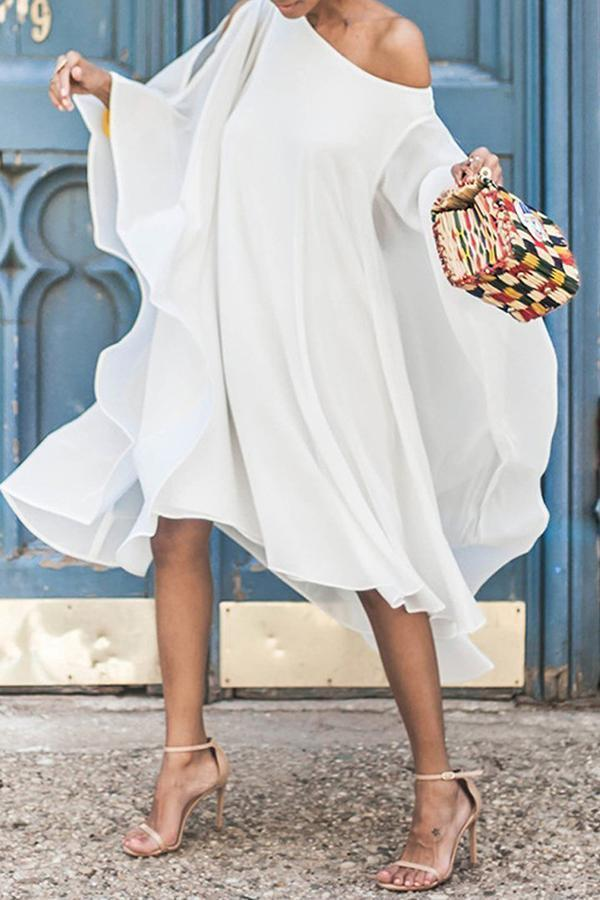 Chiffon Off Shoulder Sleeve Casual Midi Dress