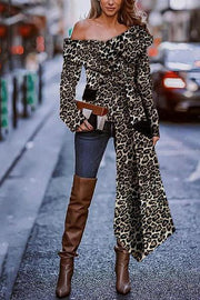 Sexy Fashion Strapless Leopard Print Long Sleeve Blouse