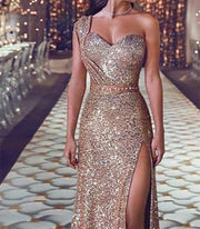 One Shoulder Sequin Evening Dress
