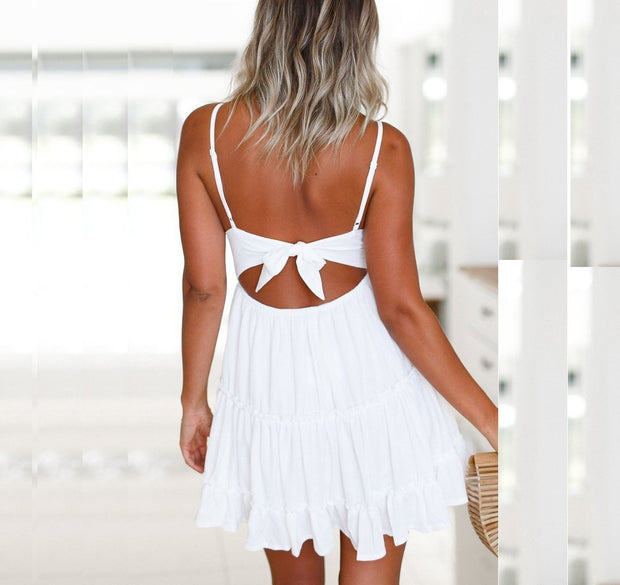 Casual Off Shoulder Backless Lace Splicing Mini Dress
