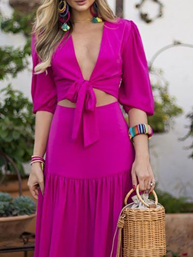 Sexy Belted Pure Colour Wrap Chest Vacation Dress