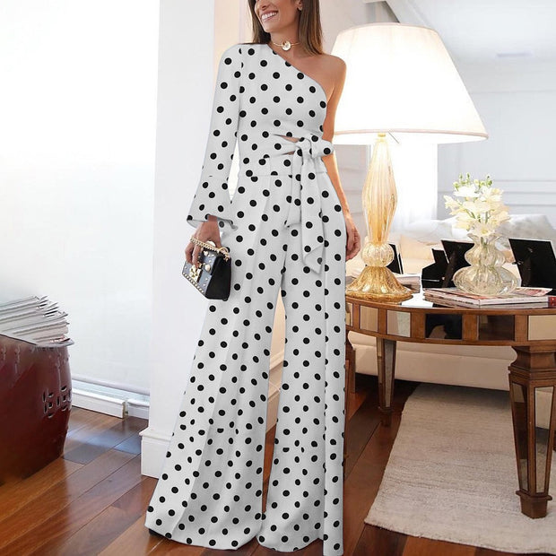 Fashion Pure Colour Off-Shoulder Polka Dot Jumpsuit