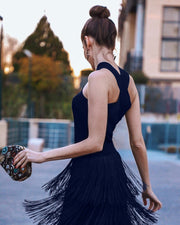 Casual Sexy Sleeveless   Slim Tassels Hemline Evening Dress