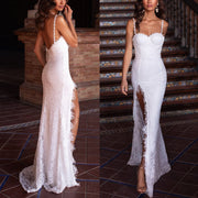 High-End Sexy Suspenders Open Back Sexy Evening Dress White Dress