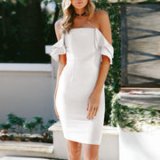 Fashion Sexy Wrapped Chest Back Ruffled Hip Bodycon Dress