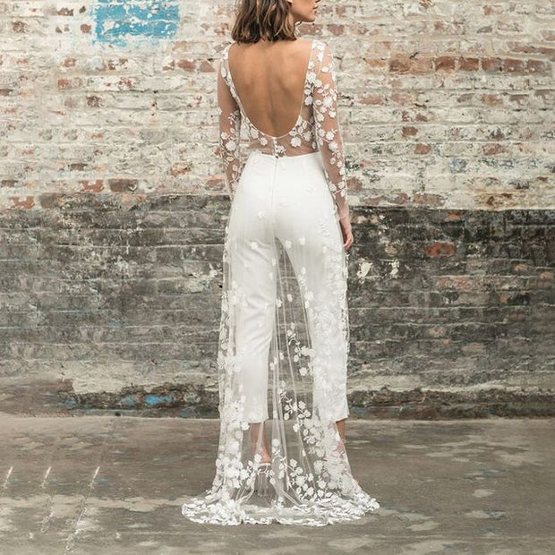 Perspective Lace Front Short Long White Maxi Evening Dress