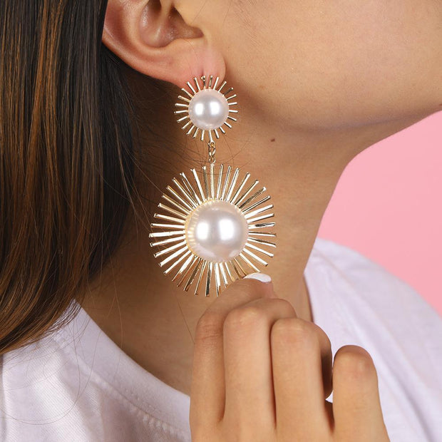 Inlaid Pearl Temperament Sun Flower Personality Earrings