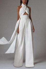 Elegant Off-Shoulder Sleeveless High-Waist Pure Colour Belted Jumpsuit