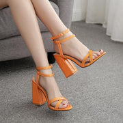 Euramerican Style Buckle Pure Color Chunky Heels Sandals