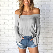 Casual Off-The-Shoulder Shoulder-Length Long-Sleeved T-Shirt