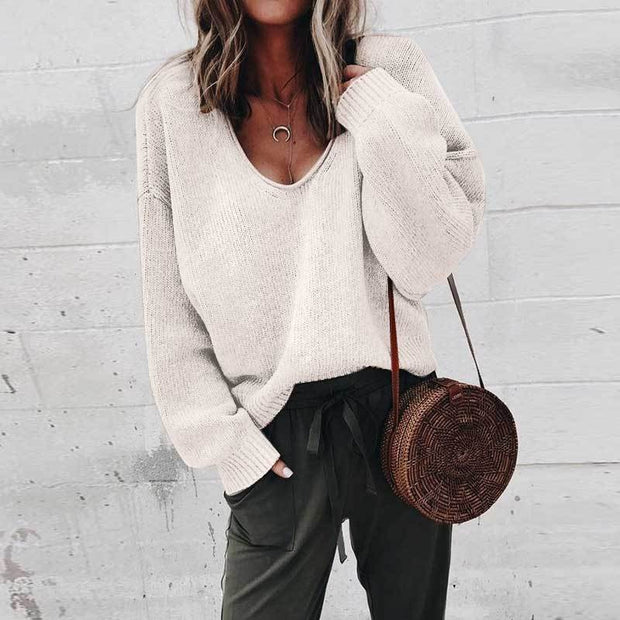 Pure Color V-Collar Long-Sleeved Loose Knitted Sweater