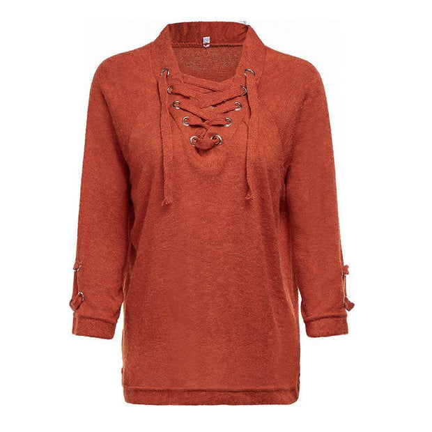 Fashion Individuality Pure Colour Lace-Up Sweater
