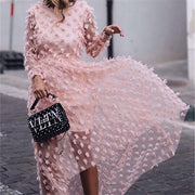 Fashion Round Neck Jacquard Long Sleeve Dresses