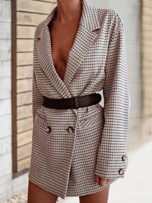 Fashion Lapel Plaid Button Slim Outerwear