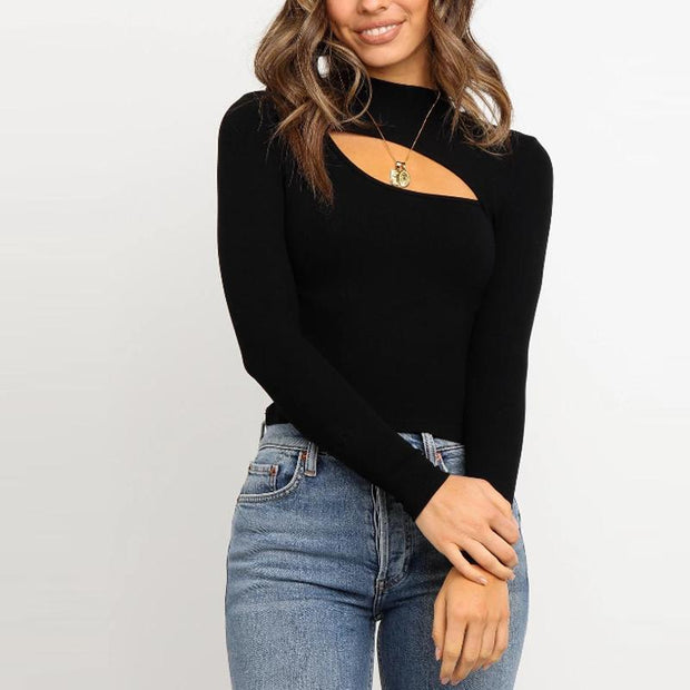 Casual Pure Color Round Collar Long Sleeves T-Shirt