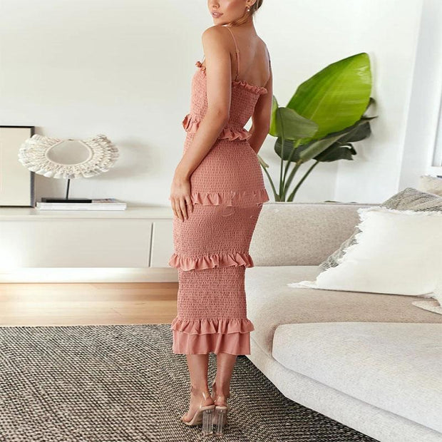 Halter sexy  off shoulder long curly Bodycon Dress