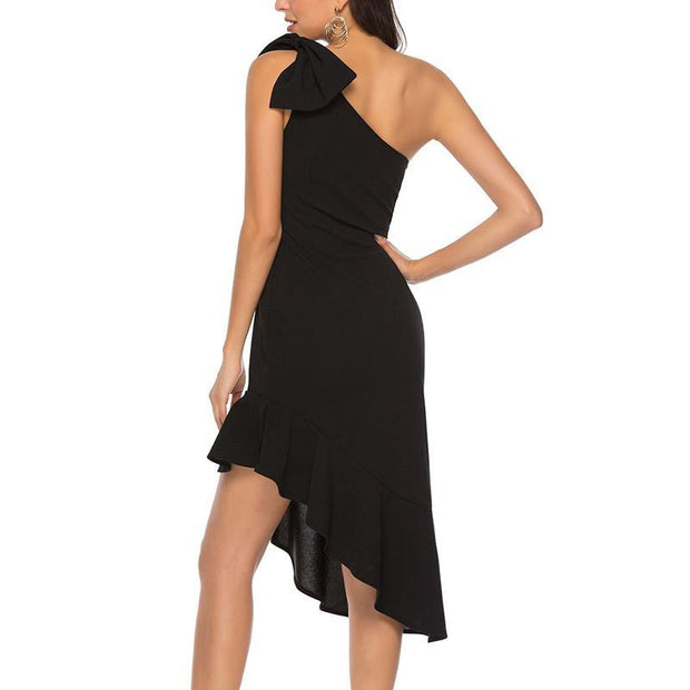 Fashion Slanted Shoulder Party Dress