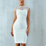 Sexy Bareless Lace Splicing Bodycon Dress (Black& White)