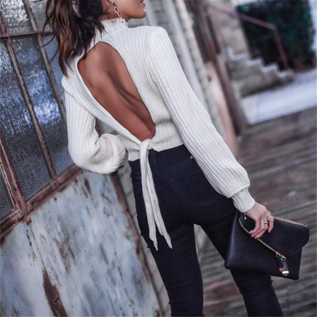 Sexy Fashion Open Back Lace Sweater