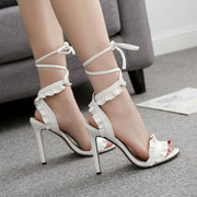 Lace cross fish mouth thin high heels