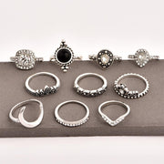 Fashion Women's Vintage Glass Crystal Moon Ring Set