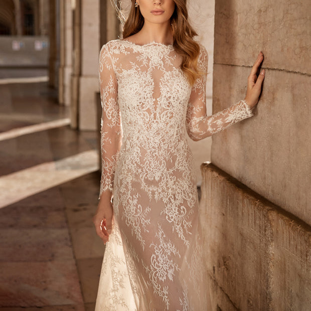 Sexy Lace Perspective Long Sleeve Evening White Dress