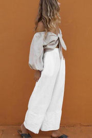 Puff Sleeve Chest Strap Wide Leg Two Piece Set
