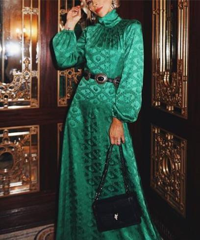 Flash Sale Autumn and winter fashion printing long-sleeved maxi dress