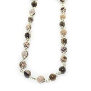 Collier Pierres Naturelles Marrons Argent
