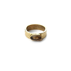 Bague Smokey Quartz Pierre Ovale