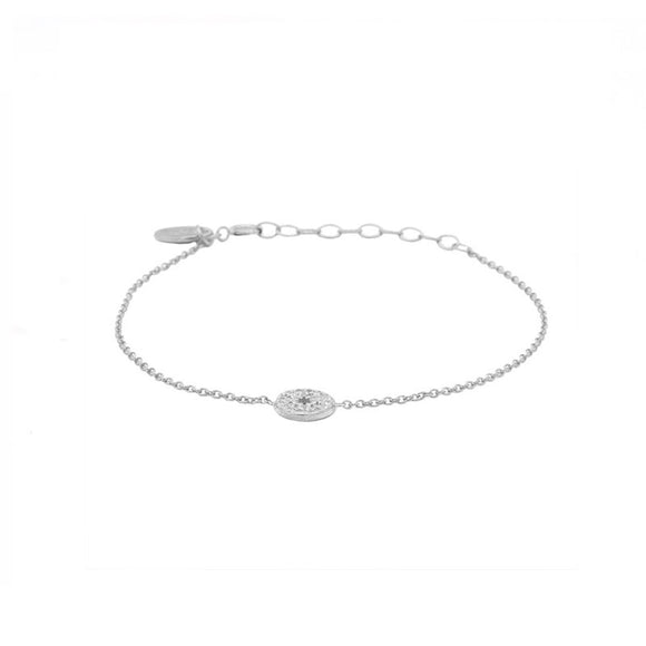 Bracelet Zirconia Morningstar Disc Ajustable Argent - Karma