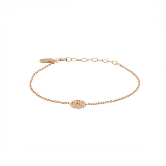 Bracelet Zirconia Morningstar Disc Ajustable Argent Plaqué Or Rose - Karma