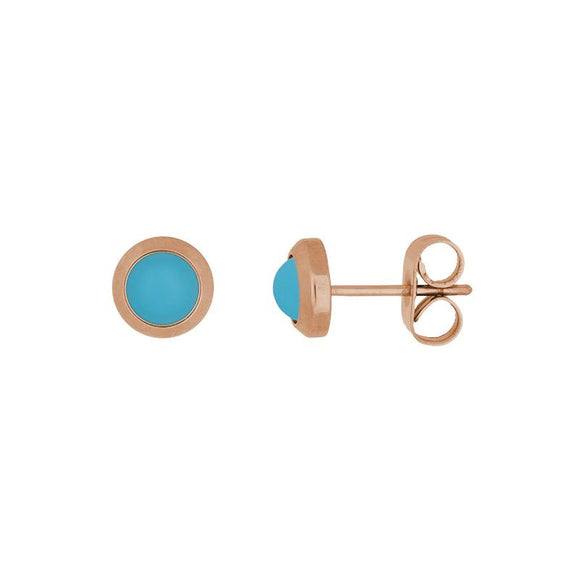 Boucles d'Oreilles Turquoise Mat Or Rose - iXXXi