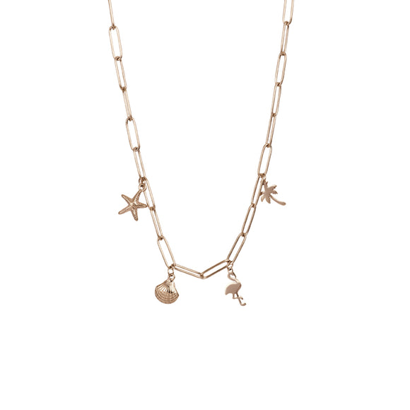Collier avec des Charms 40/50 cm Or Rose - iXXXi