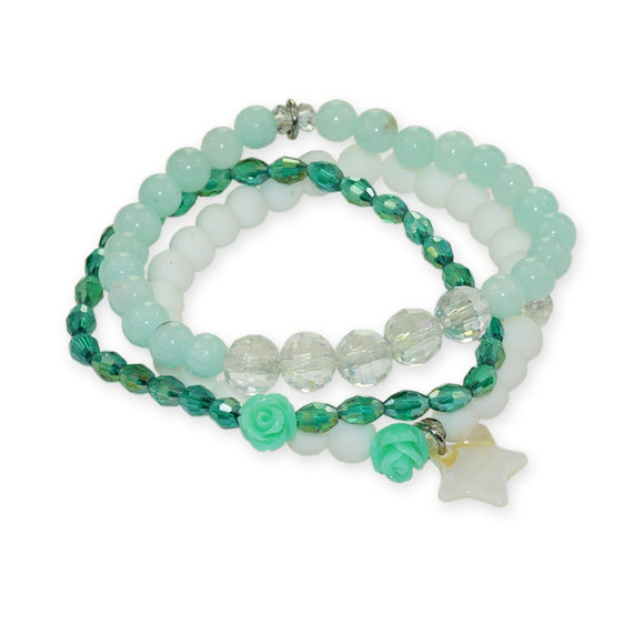 Ensemble de 3 Bracelets Minty Green
