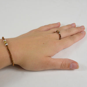 Ensemble Bracelet + Bague Marron Brillant