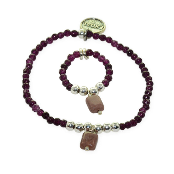 Ensemble Bracelet + Bague Violet Brillant