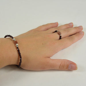 Ensemble Bracelet + Bague Grenat Brillant et Marron